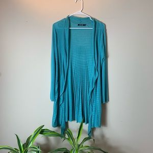 Nic + Zoe Turquoise Draped Open Front Cardigan